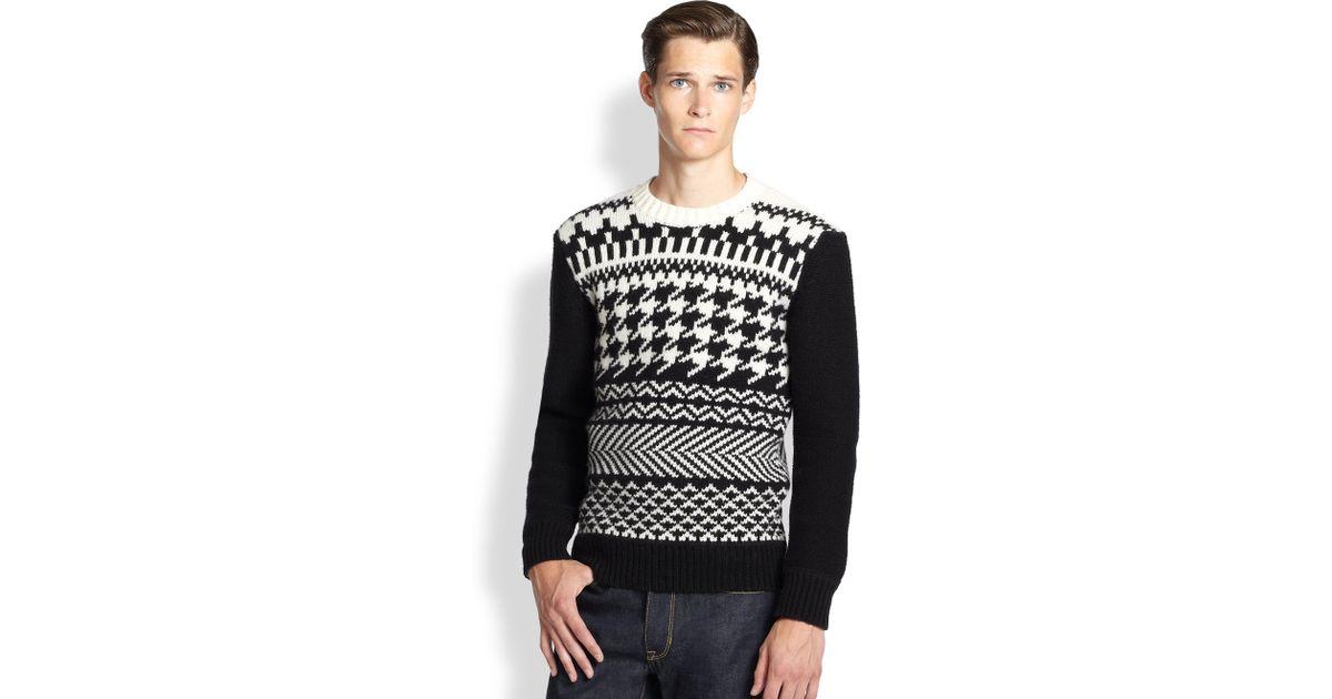 Lyst - Kent & curwen Fairisle Sweater in Black for Men