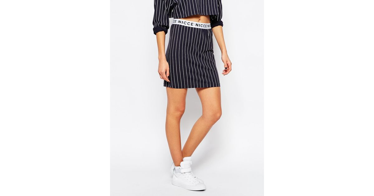 nicce stripe bodycon skirt with detail in blue