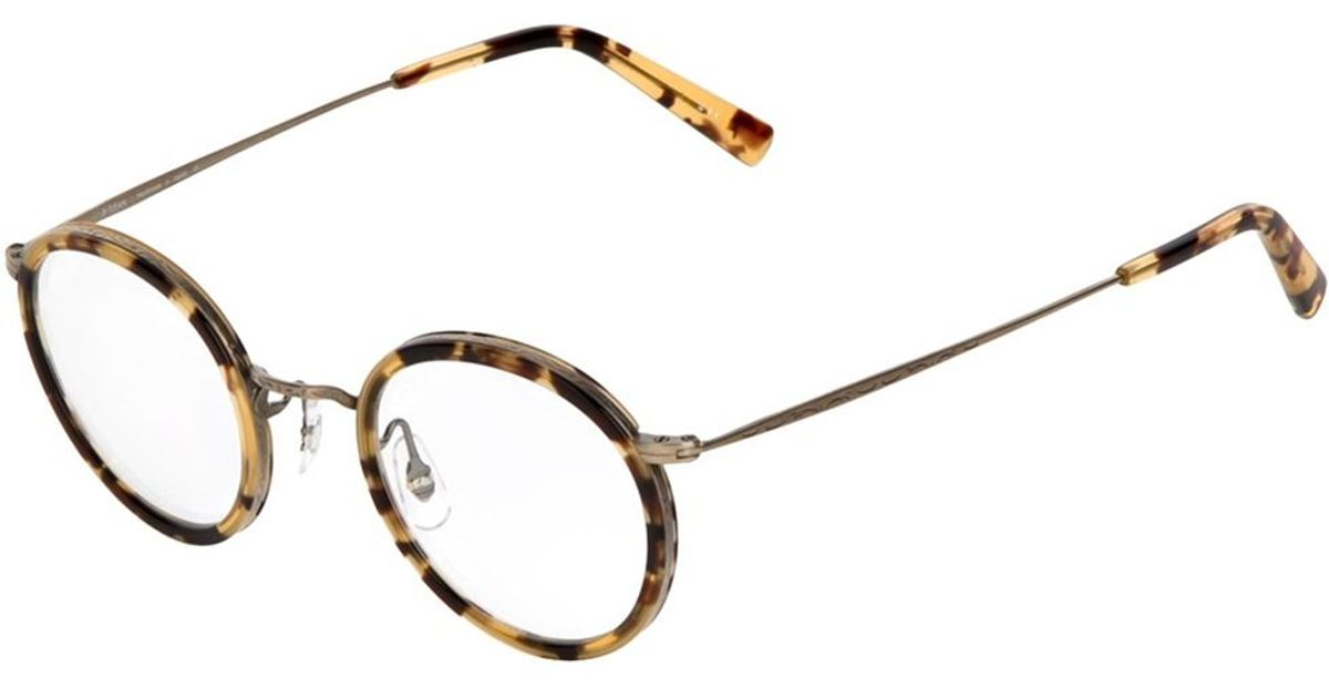 dac48a1e5a Lyst - Masunaga Round Frame Glasses in Brown