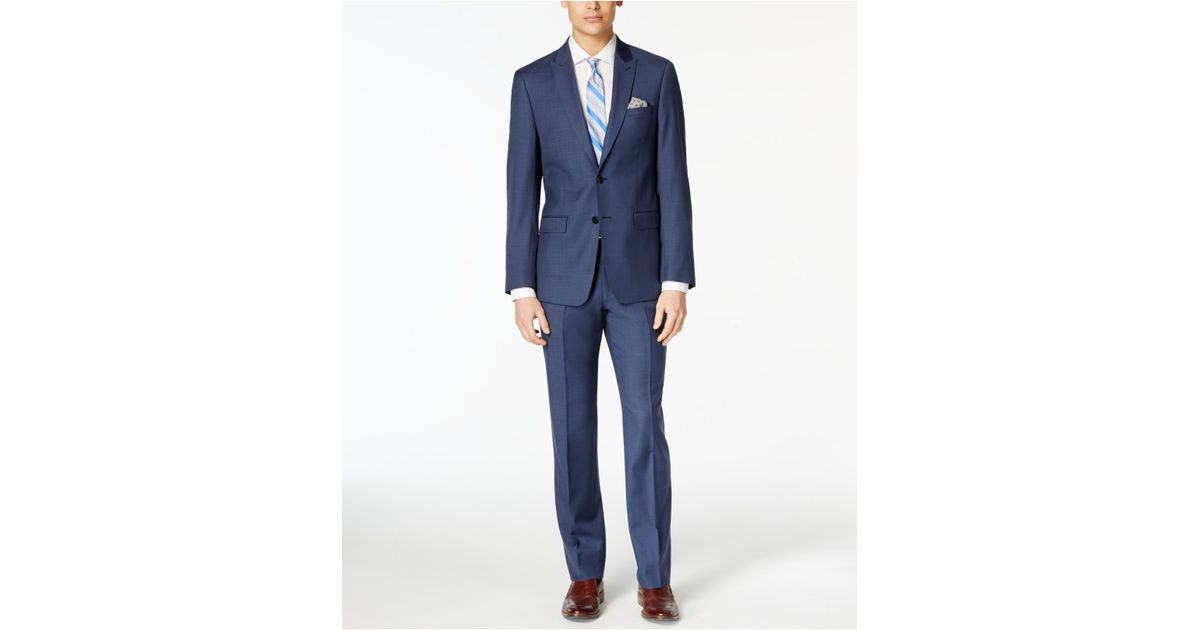 Calvin klein x fit navy solid extra slim fit suit in blue for Calvin klein x fit dress shirt