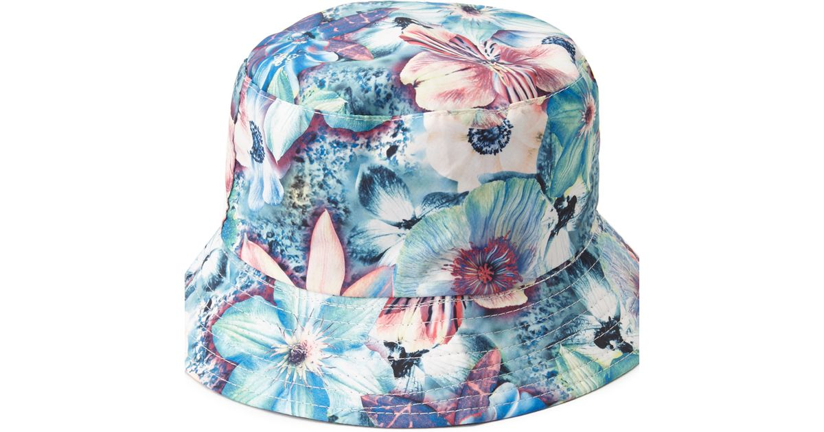 4f6aef96e Lyst - Forever 21 Tropical Print Reversible Bucket Hat in Blue