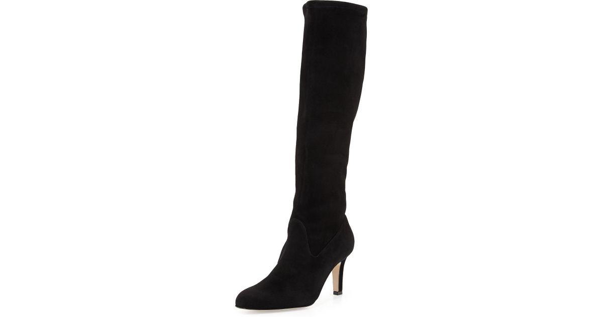 998b8f9e7e370 Lyst - Manolo Blahnik Pascaputre Suede Knee-High Boot in Black