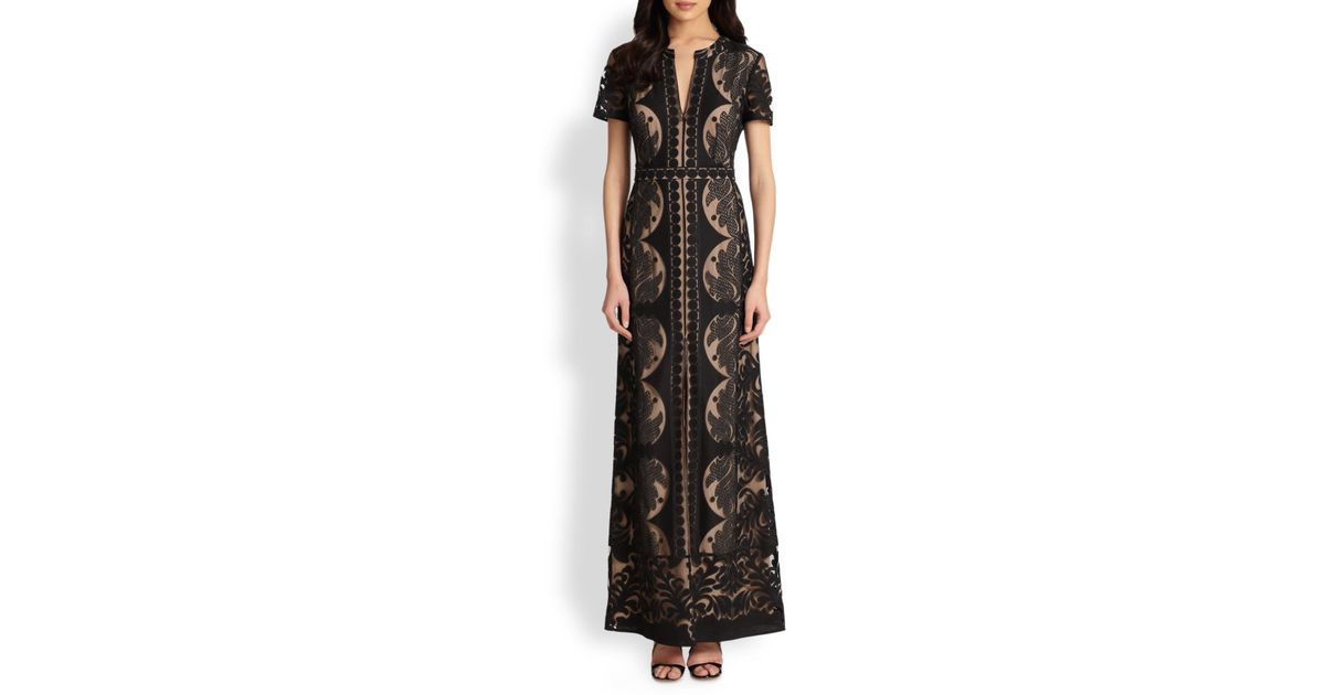 c2142612f11d Lyst - BCBGMAXAZRIA Cailean Lace Maxi Dress in Black