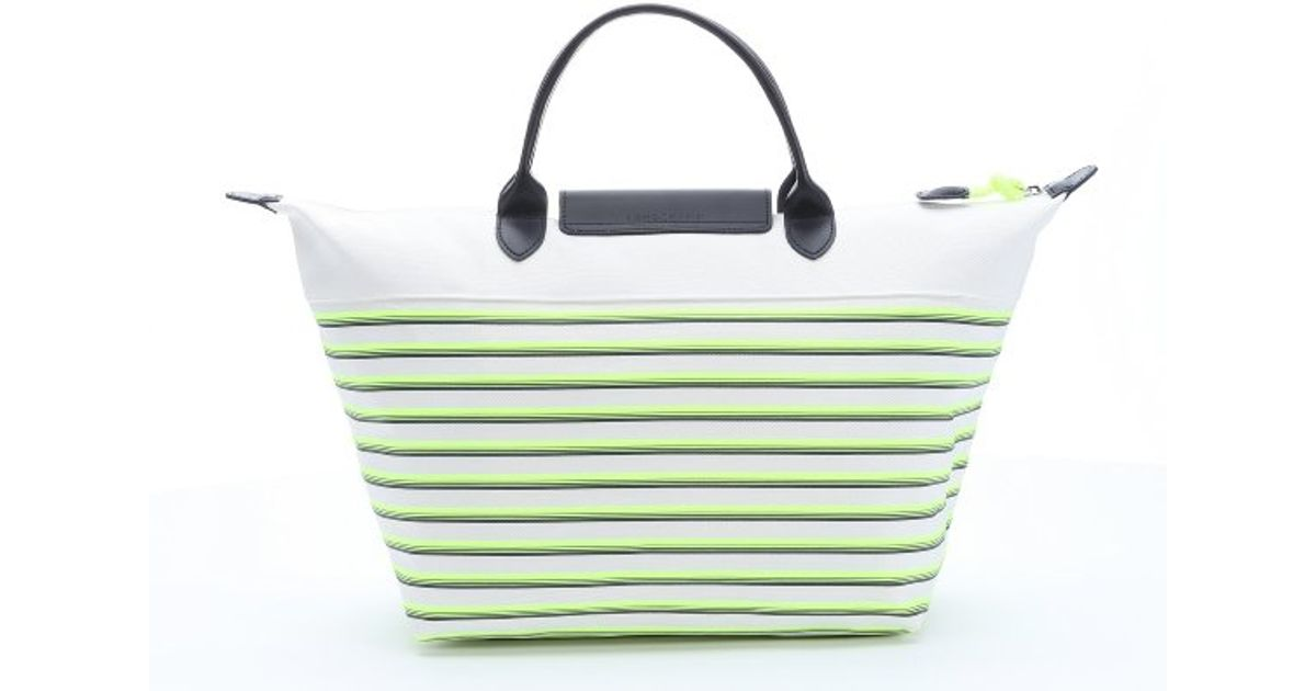 Longchamp Lime Green And White Striped Leather Trimmed Canvas Tote ...