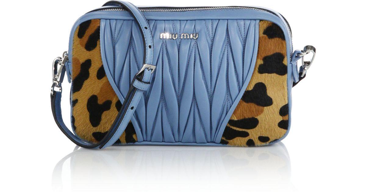 9a55eb67aa26 Lyst - Miu Miu Cavallino Matelasse Leather   Calf Hair Camera Bag in Blue