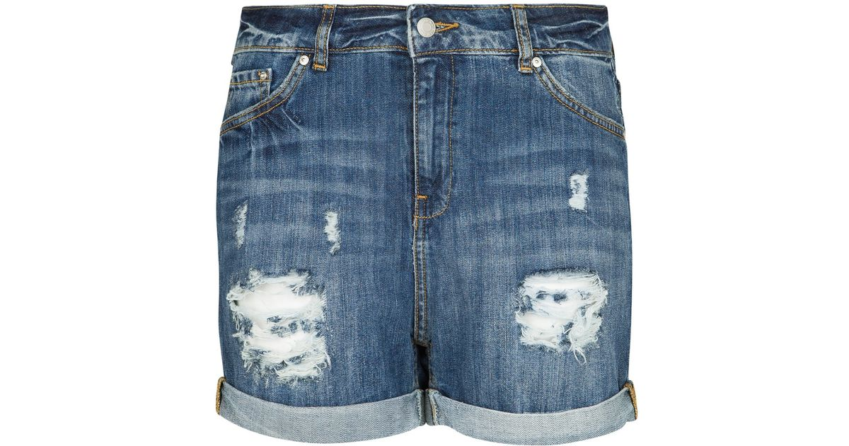 Mango Denim Boyfriend Shorts in Blue | Lyst