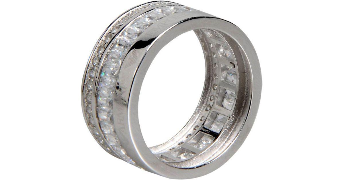 emporio armani ring in metallic lyst
