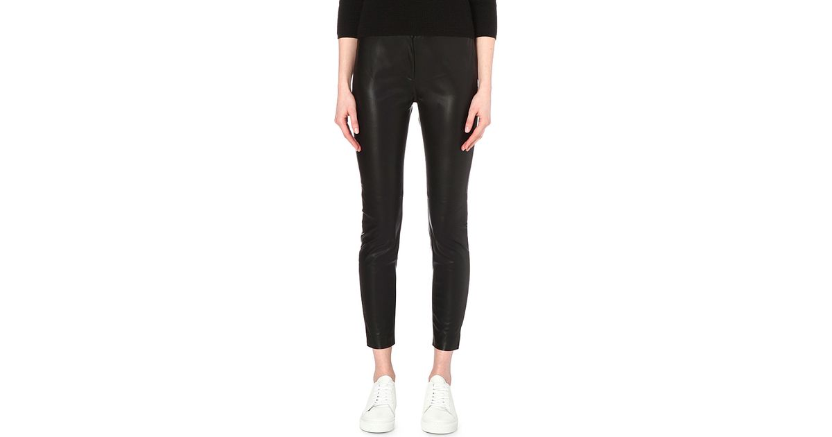 52bad2a681f French Connection Atlantic Faux-leather Cropped Trousers in Black - Lyst