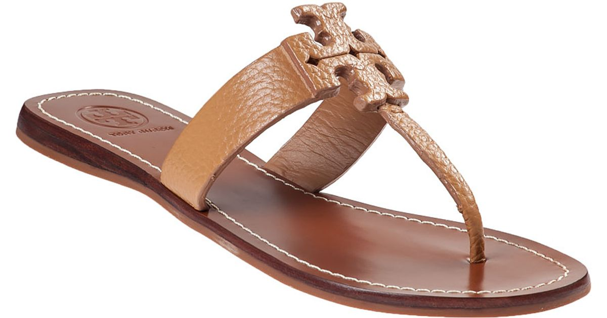dfcf804d4186 ... norway lyst tory burch moore thong sandal royal tan leather in brown  2ea17 9bf54