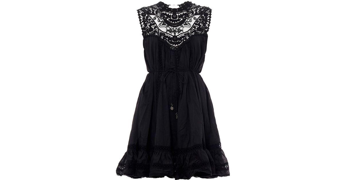 8ec19a11cbcc Lyst - Zimmermann Filigree Lace Bib Dress in Black