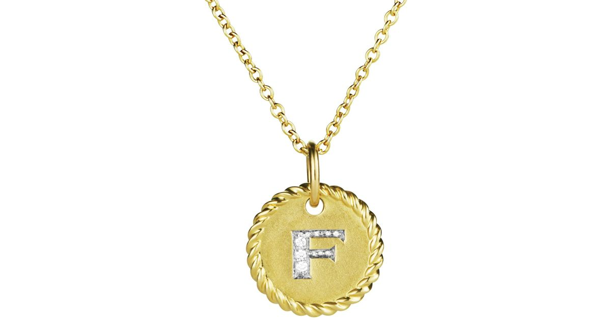 Lyst david yurman cable collectibles initial pendant with diamonds lyst david yurman cable collectibles initial pendant with diamonds in gold on chain 16 18 in yellow aloadofball Choice Image