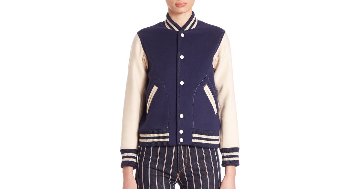 Marc jacobs embroidered varsity jacket in blue lyst