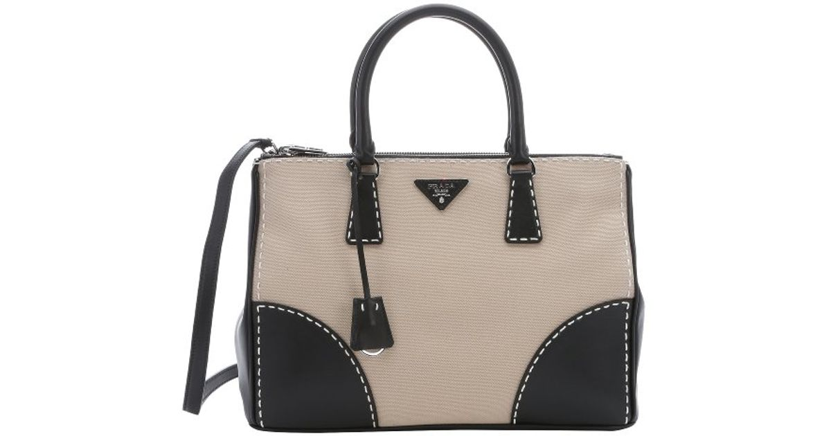 Prada Khaki Canvas And Black Leather Convertible Top Handle Bag in Natural  - Lyst 25a95d04c7183