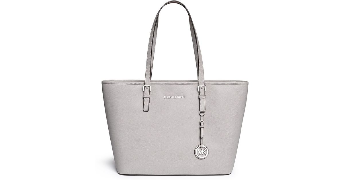 Lyst Michael Kors Jet Set Travel Saffiano Leather Top Zip Tote In Gray