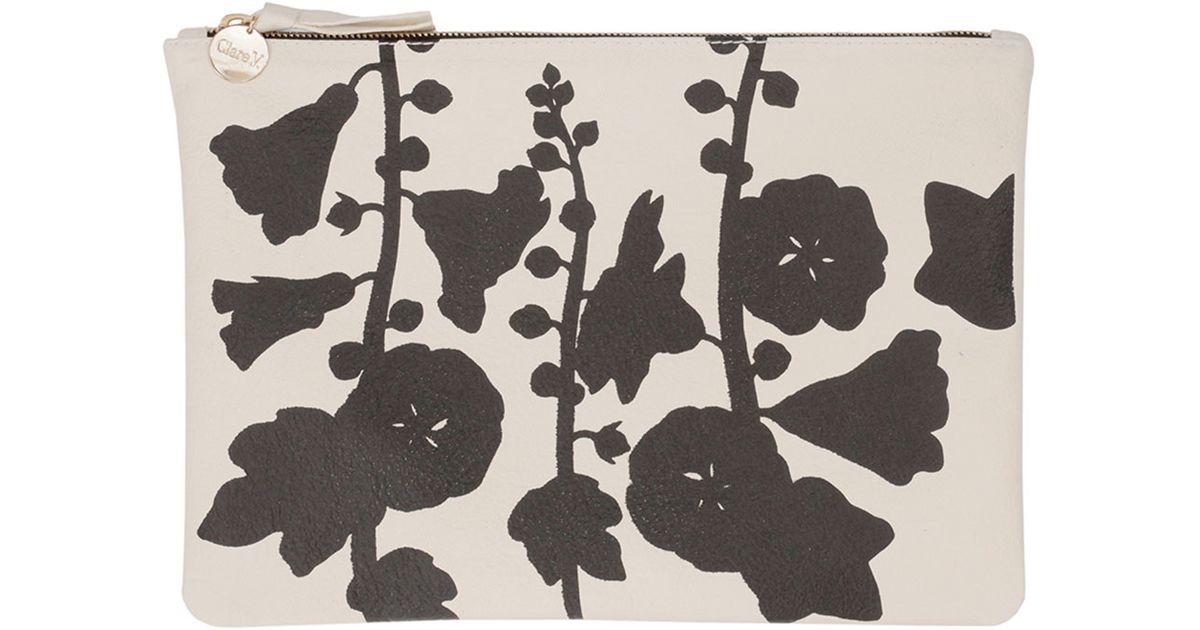 Clare v. Supreme Floral-print Flat Clutch Bag in Natural ...