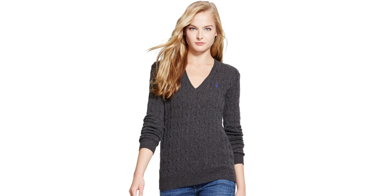 0395b7ade Polo Ralph Lauren V-neck Cable-knit Wool-cashmere Sweater in Gray - Lyst