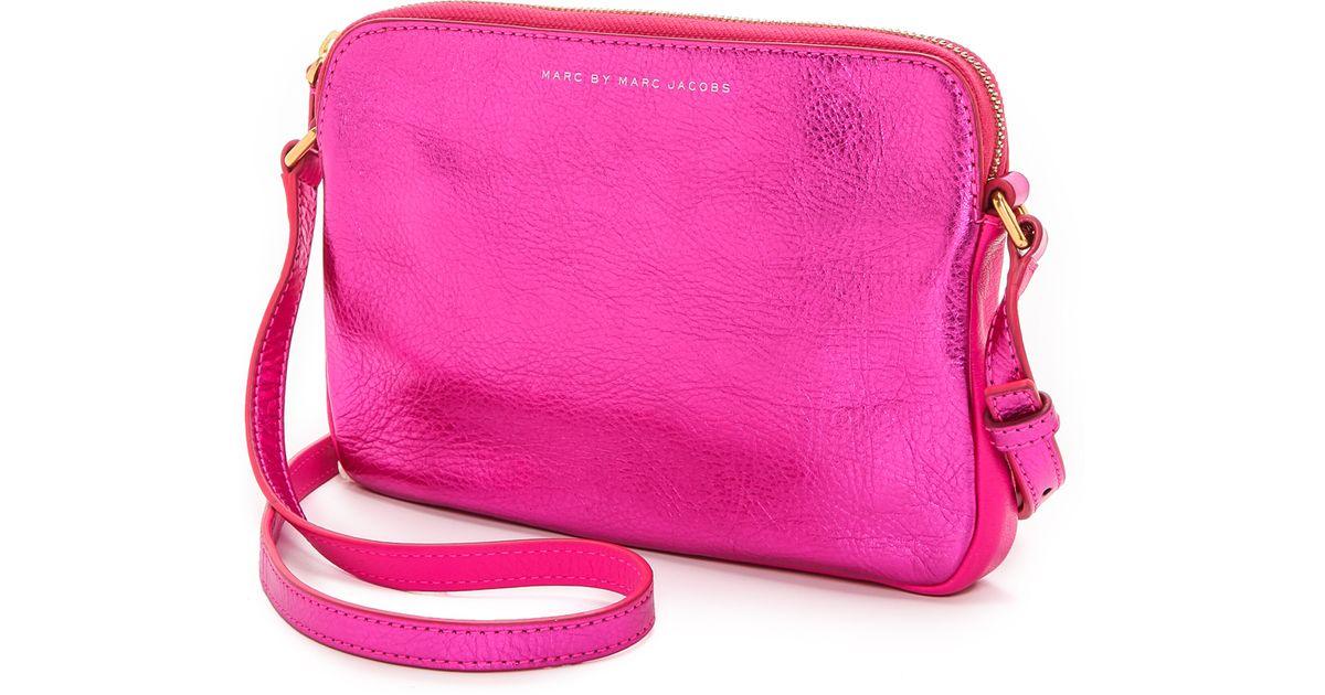 6000ccdc462 Lyst - Marc By Marc Jacobs Sophisticato Metallic Dani Cross Body Bag -  Metallic Pink in Pink