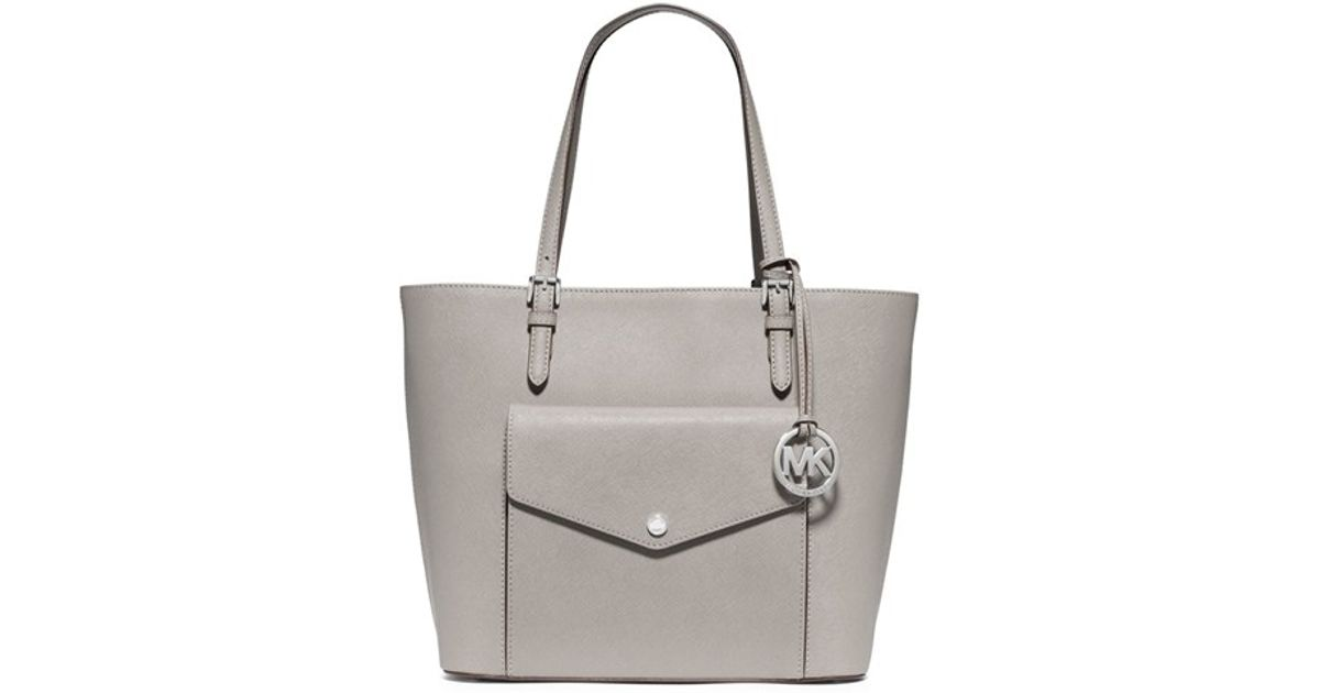 c1b7197e2fbe MICHAEL Michael Kors 'jet Set - Large' Saffiano Leather Snap Pocket Tote in  Gray - Lyst