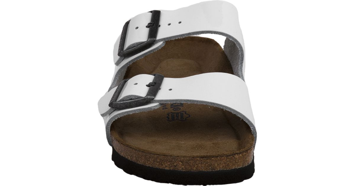 2eec41c652a Lyst - Birkenstock Arizona Soft Footbed Patent Leather Sandals in White