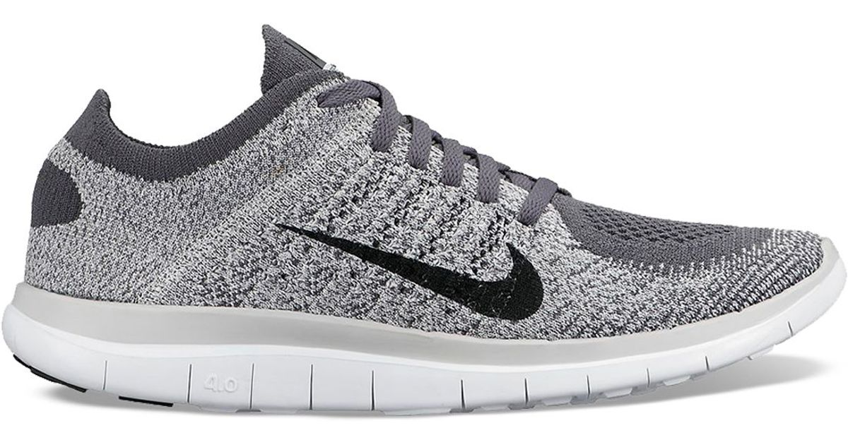 the latest ac7bb a48aa ... new arrivals lyst nike lace up running sneaker womens free 4.0 flyknit  in gray 0eeaf f1715