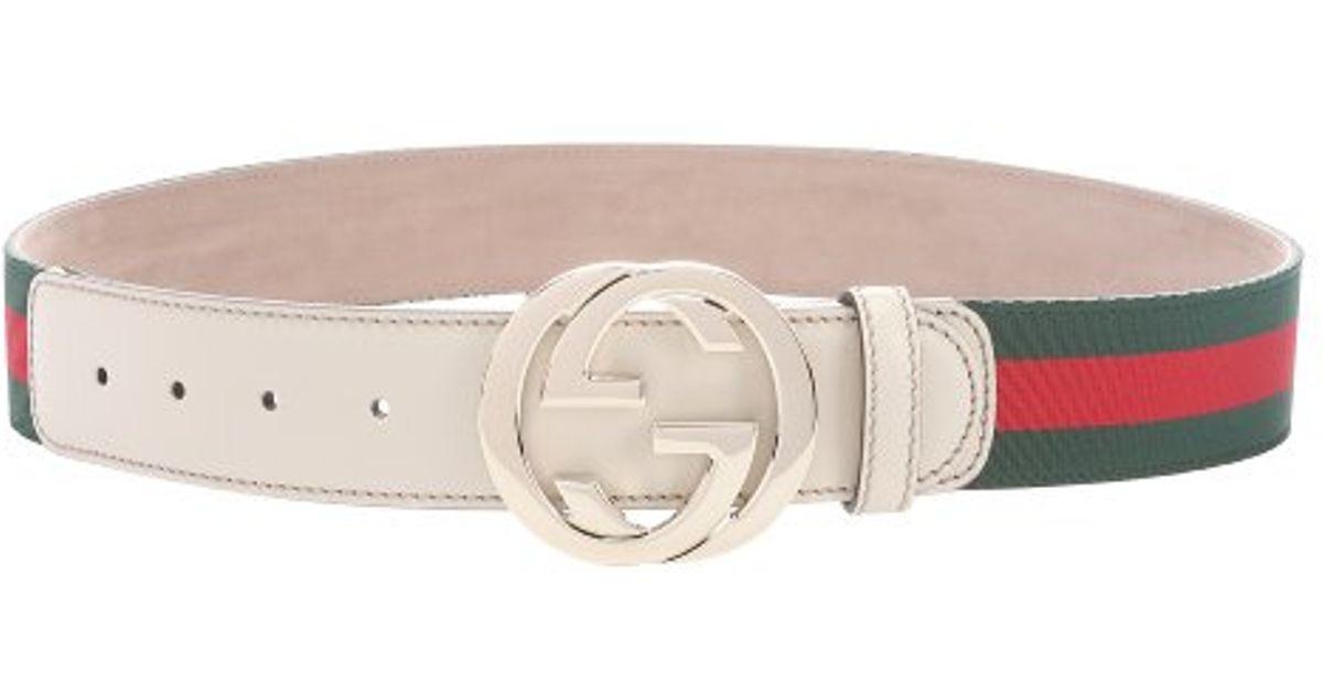 Gucci Green And Red Web Stripe Grosgrain Logo Buckle Belt ...