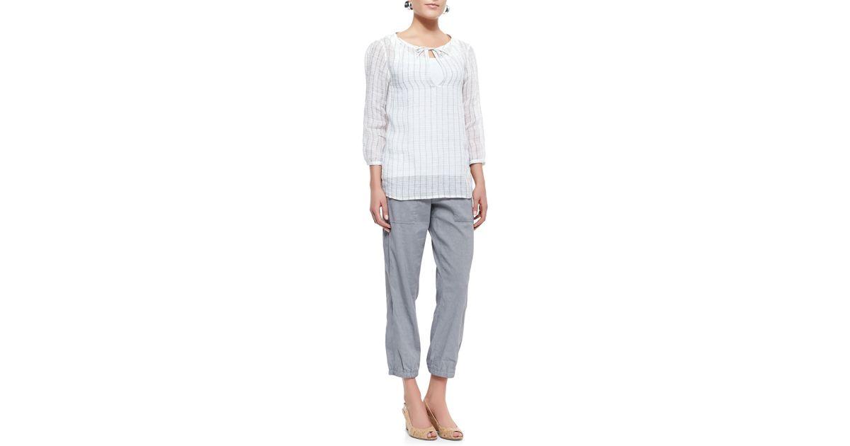 5922586d9cde Lyst - Eileen Fisher Cargo Linen-Blend Ankle Pants in Gray