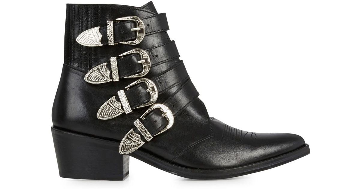 TOGA PULLA Texan in leather with opaque buckles women's Low Ankle Boots in Outlet 2018 New Great Deals Cheap Online Manchester Cheap Online Free Shipping With Paypal Discount Sast IG2KPUkZ4