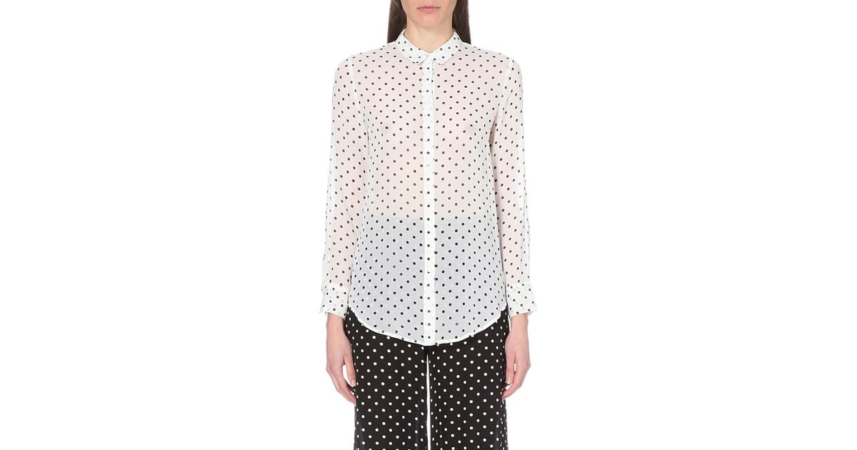 c9103848405 Theory Printed Silk Blouse - Dots in Black - Lyst