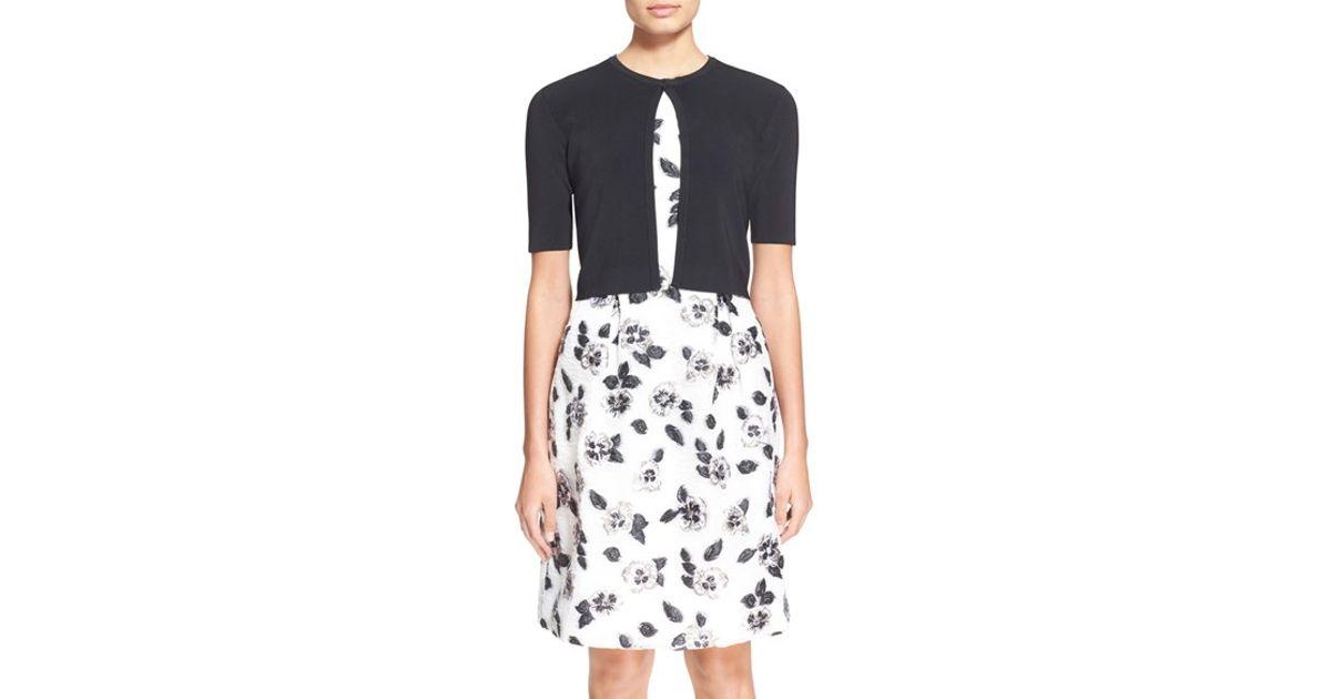 da24c71815a9e Lyst - Lela Rose Cropped Short Sleeve Cardigan in Black
