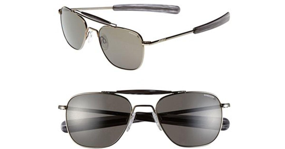6ea1679464ba4 Lyst - Randolph Engineering 55mm Polarized Aviator Sunglasses - Gunmetal   Grey in Gray for Men
