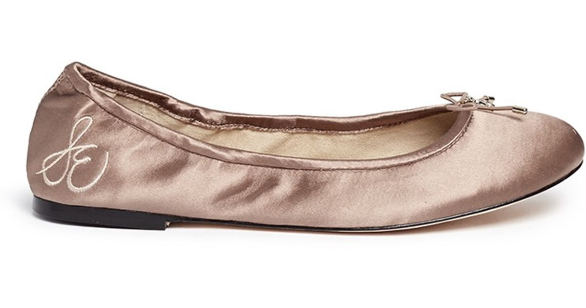 f7bf50383 Sam Edelman  felicia  Satin Ballerina Flats in Brown - Lyst