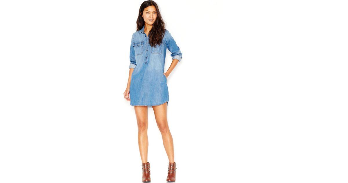 758137324c4 Lucky Brand Lucky Brand Long-sleeve Denim Shirtdress in Blue - Lyst