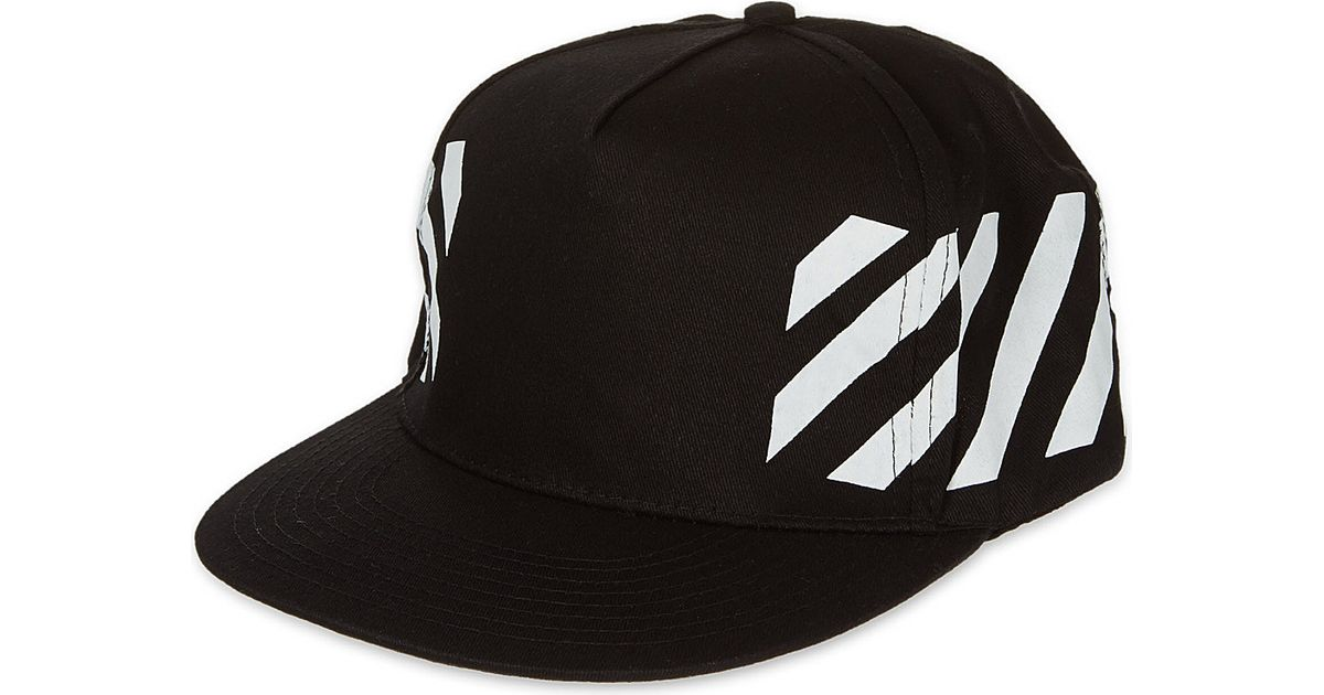 Off-White c o Virgil Abloh Cap Snapback Striped Black in Black for Men -  Lyst a7cffd771f8