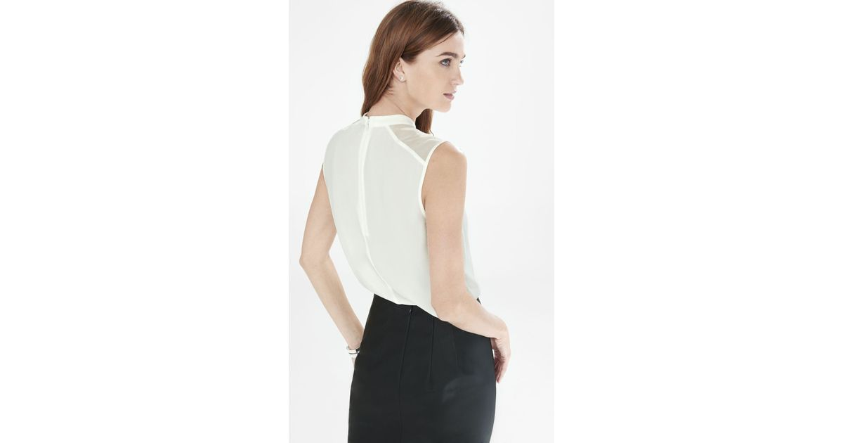 efe4f2369e2d4 Lyst - Express High Neck Sleeveless Blouse in White
