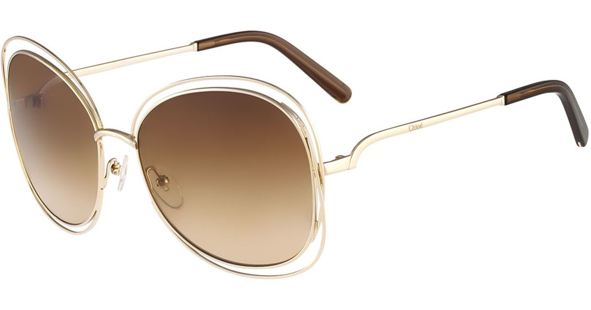 Chloe 79s Gold Frame Sunglasses : Chloe Carlina Butterfly-frame Sunglasses in Pink Lyst
