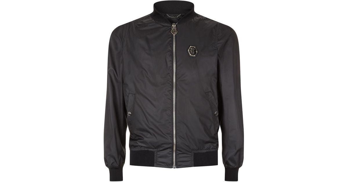 philipp plein gio bomber jacket in black for men lyst. Black Bedroom Furniture Sets. Home Design Ideas