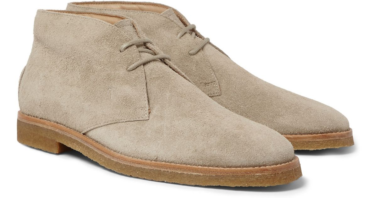 Tod S Crepe Sole Distressed Suede Desert Boots In Brown