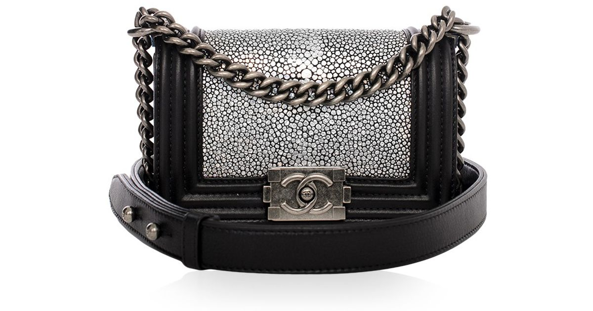 acb54ef40616 Madison Avenue Couture Chanel Metallic Stingray Calf Leather Mini Boy Bag  in Black - Lyst