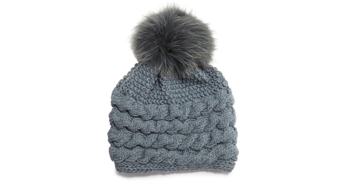 Lyst - Inverni Cashmere Cable-knit Beanie Hat W fur Pom Pom in Gray 627d0f0ca