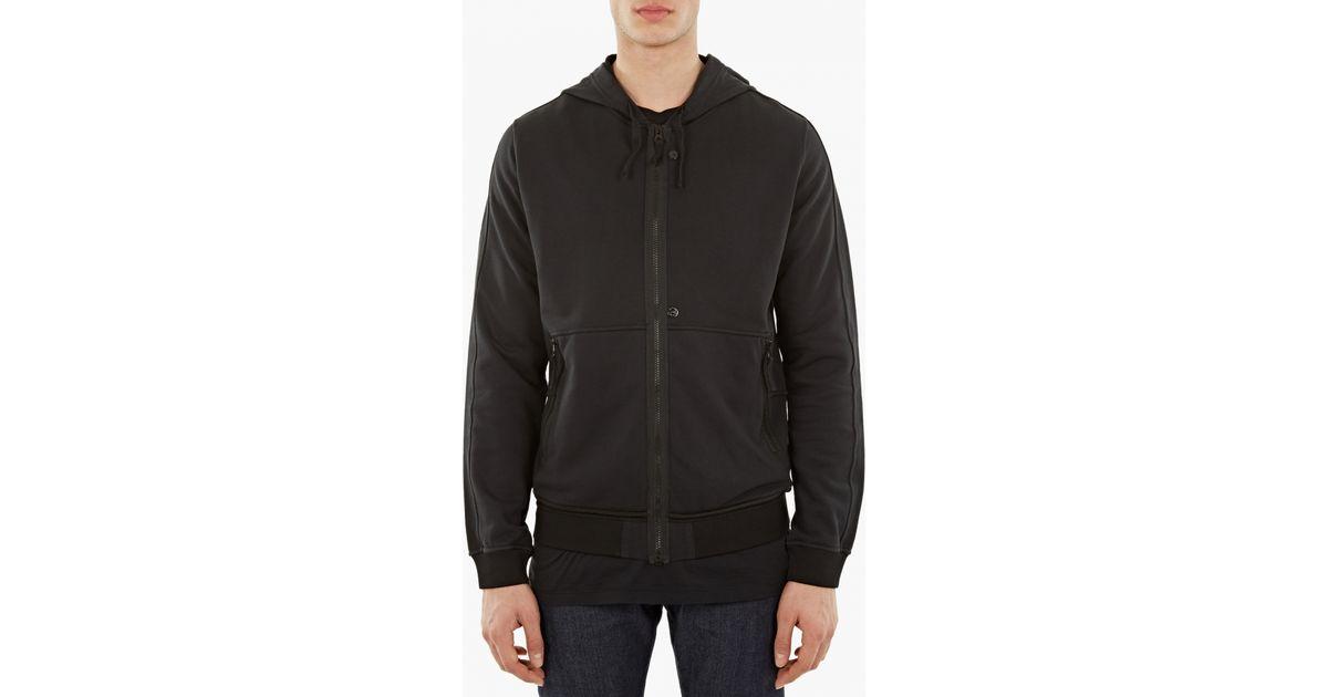 Stone island Black Cotton Zip-up Hoodie in Black for Men - Lyst