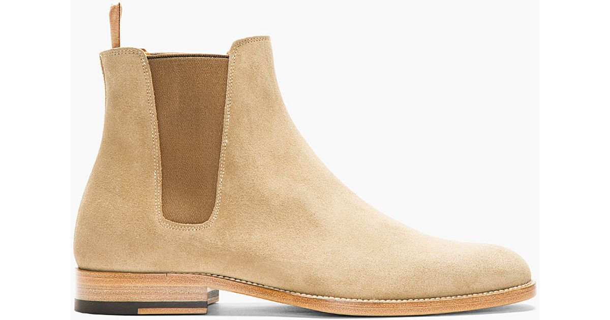 Lyst - Saint Laurent Tan Suede Chelsea Boots in Natural for Men ee03d65eb