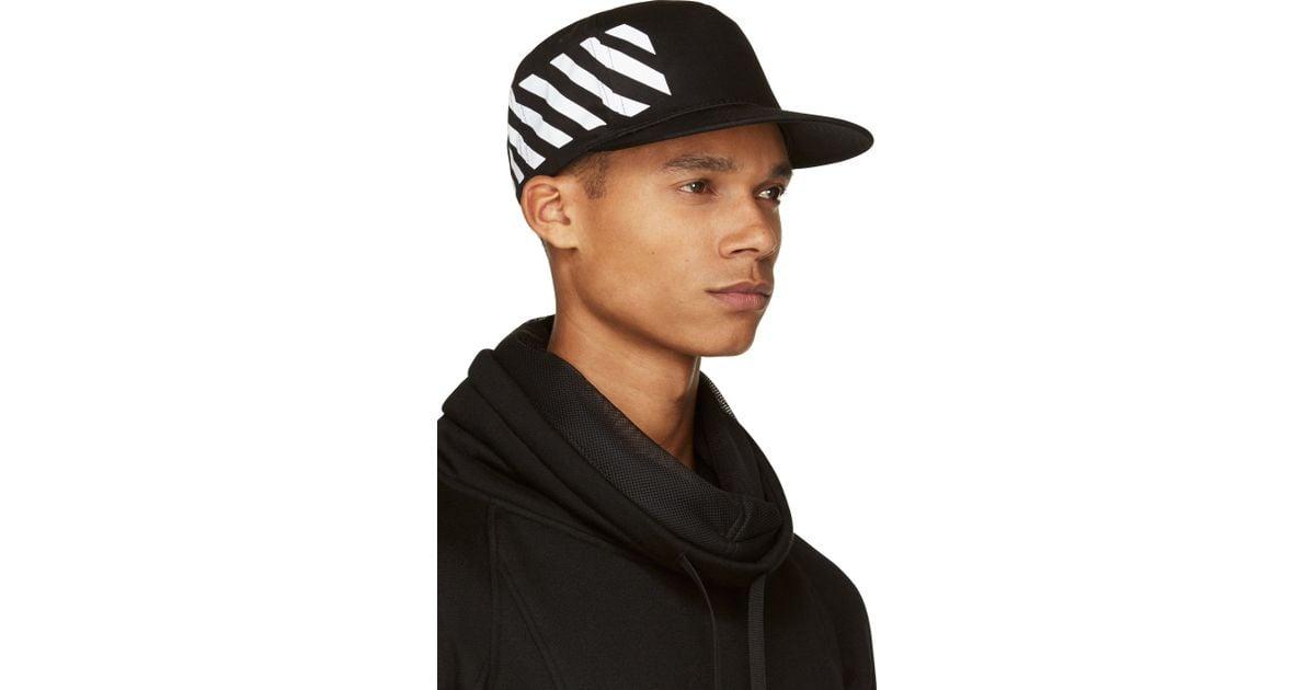 b0364c0c Off-White c/o Virgil Abloh Baseball Cap With Stripe Print in Black for Men  - Lyst