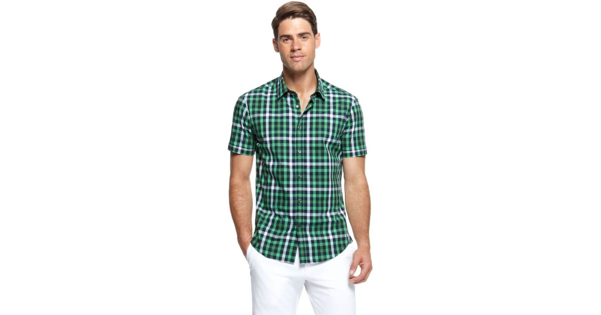 fbb5e6e2e BOSS Green Bastiano | Regular Fit, Short Sleeved Stretch Cotton Check Print  Button Down Shirt in Green for Men - Lyst