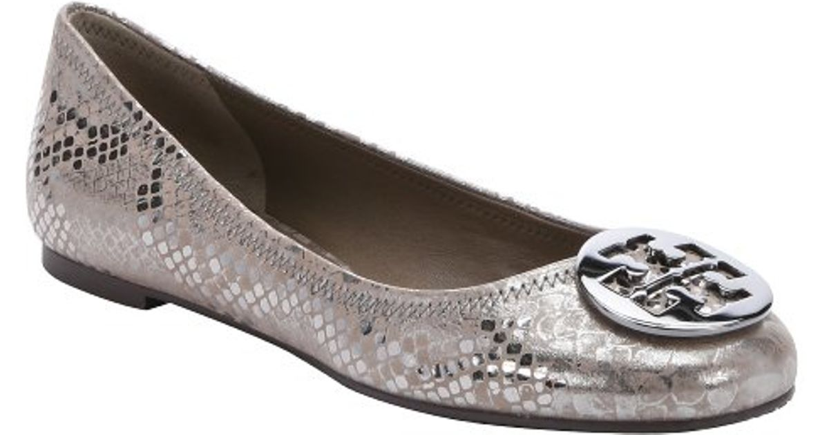 d85a5fa4f ... discount code for tory burch pewter metallic snake effect leather reva ballet  flats in gray lyst