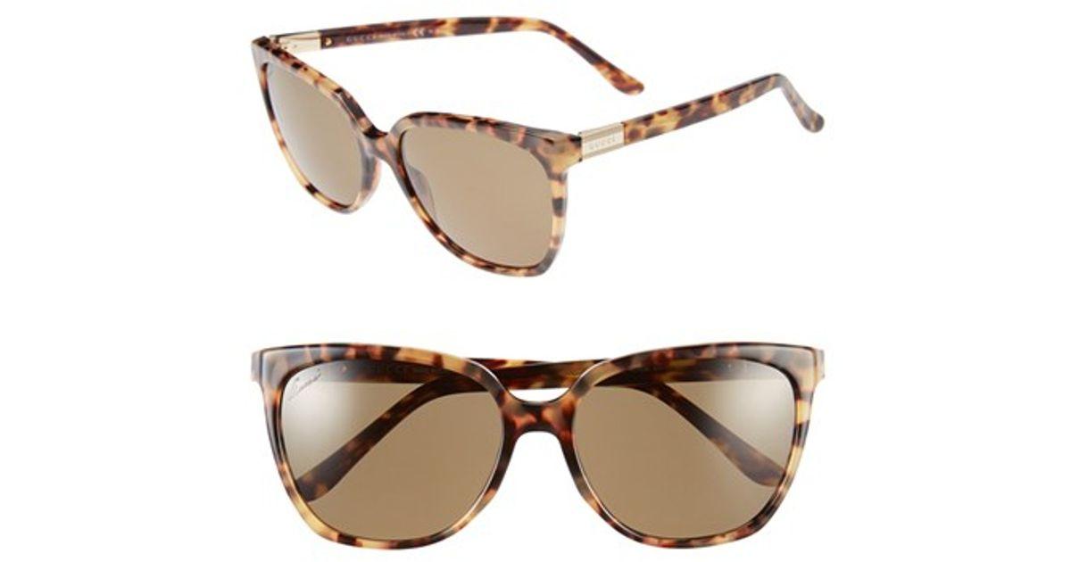 Lyst - Gucci 57mm Polarized Retro Sunglasses - Havana  Polar in Brown 589d177f08