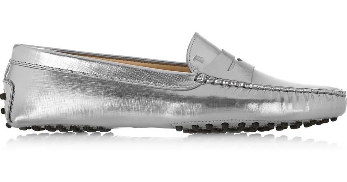 edd827c5fb2 Metallic Leather Gommino In Tod s Lyst Loafers qwfUxC0H