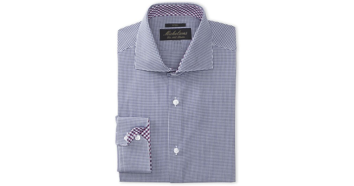 Michelsons of london navy mini check fitted dress shirt in for Navy blue checkered dress shirt