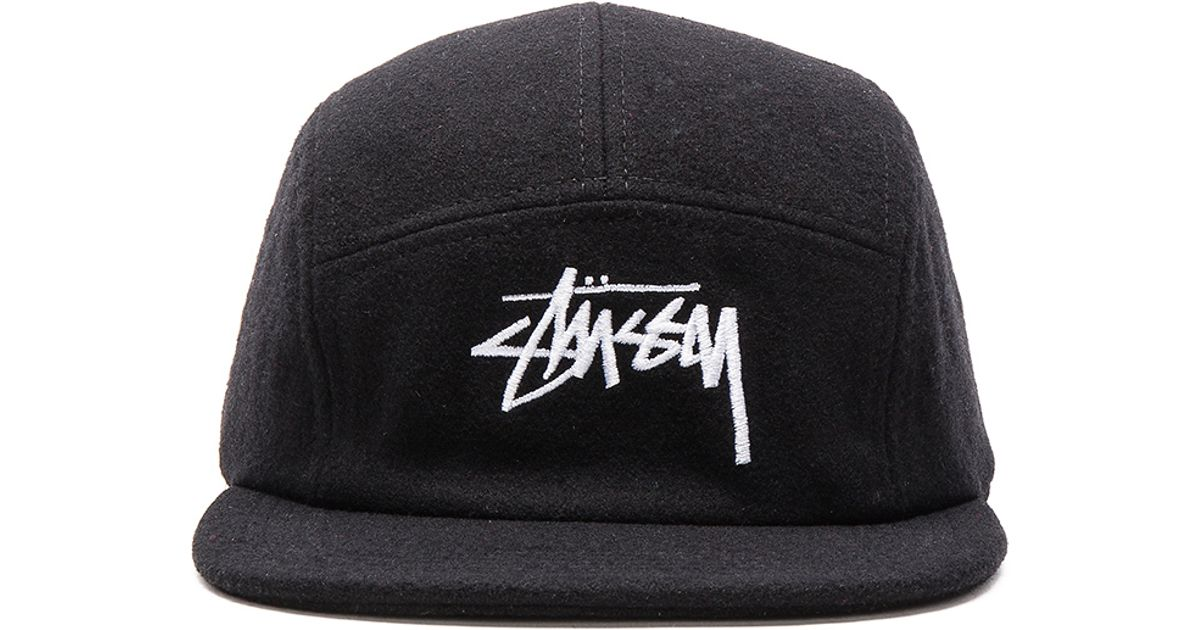 Lyst - Stussy Stock Wool Camp Cap in Black for Men 7a88af38388