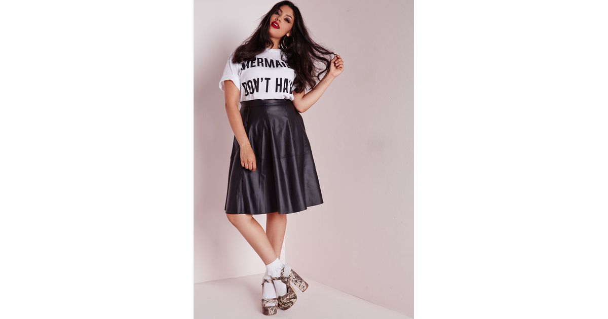 e878495a64758 Black Skater Skirt Outfit Plus Size   Lyst missguided plus size faux  leather midi skater skirt