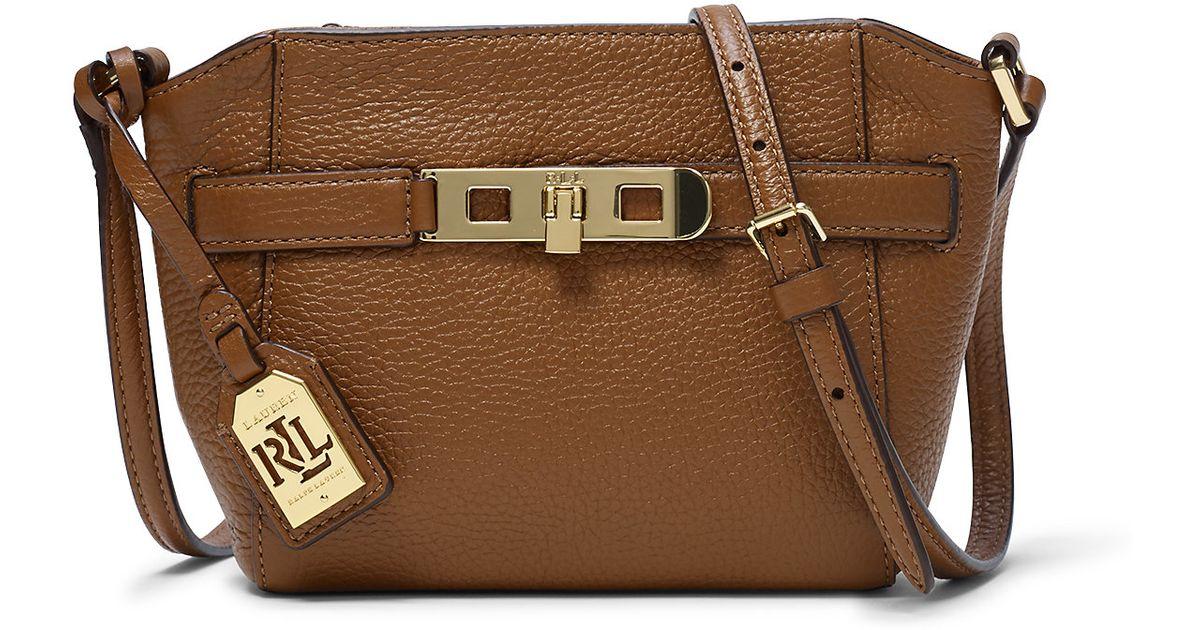 475bcffc5896 ... get lyst ralph lauren darwin leather cross body bag in brown 85c48 0ba67